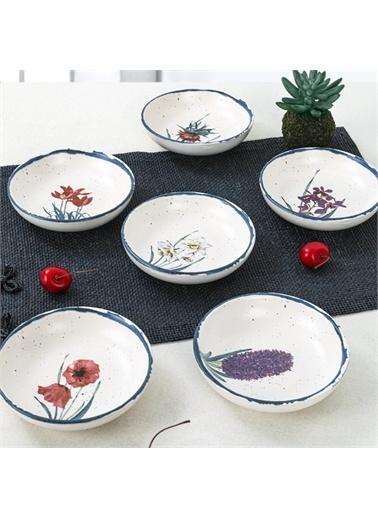 Keramika Anatolian Flowers Halka Çerezlik/Sosluk 13 Cm 6 Adet - 256/261 Renkli